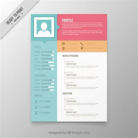 Resume Template Word Colour Colors Resume Template Vector Premium