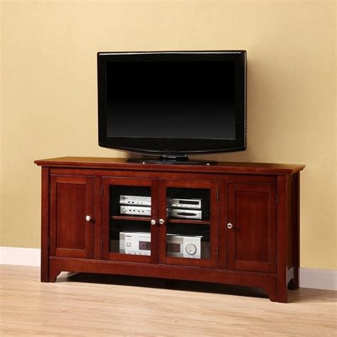 walker edison 52 quot solid wood tv stand with 4 doors in
