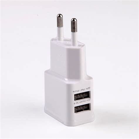 Two Port Usb 5v 2a Charger Travel Adapter Eu Putih Ac Wall Charger Adapter Usb 1 2 Port 5v 2a For