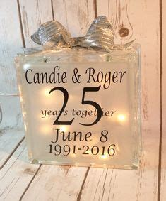 25th Anniversary lighted glass block made by Aubrey