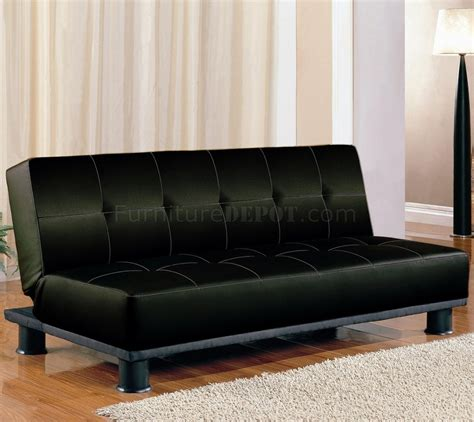 Faux Leather Modern Convertible Sofa Bed 300163 Black Modern Convertible Sofa Bed