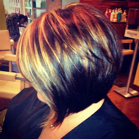chocolate hair color with highlights for angled bobs angled bob with highlights by stacey rippy hair and