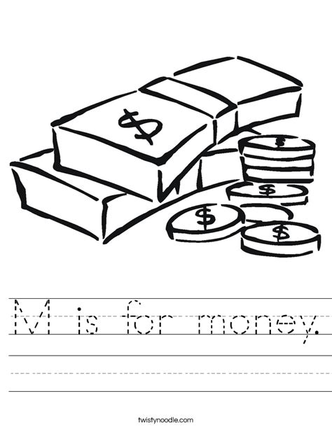 coloring book list of songs m is for money worksheet twisty noodle