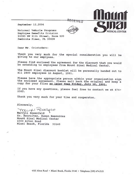 Acceptance Letter From Of Miami Mount Sinai Center National Benefits Programs