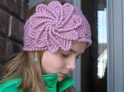 crochet pattern for headbands with flowers crochet spiral flower headband girls ear by