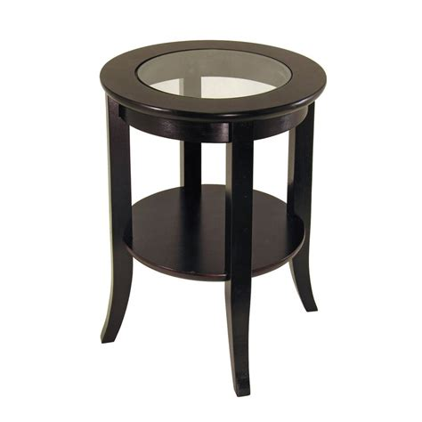 round accent tables wood shop winsome wood dark espresso round end table at lowes com