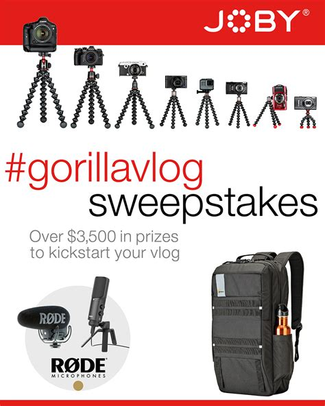 february sweeps 2017 joby gorillavlog sweepstakes november 2017
