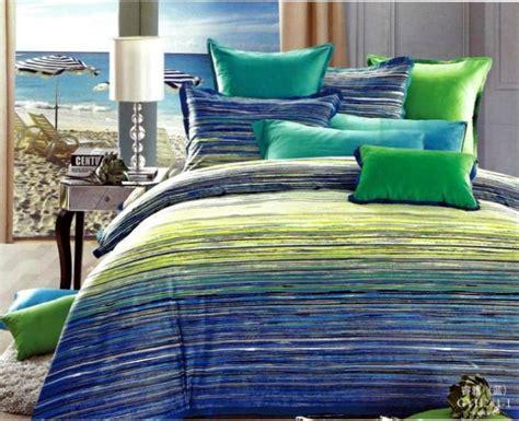 Tartan Duvet Sets Bleu Vert Ray 233 Coton 233 Gyptien Ensemble De Literie Reine Couette Housse De Couette King Size