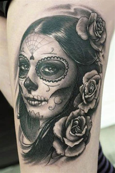 muerte tattoo wonderful santa muerte with hair in style and