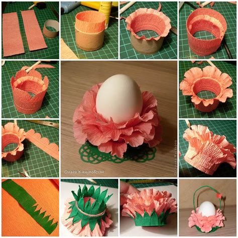 How To Make Paper Flower Basket - diy crepe paper flower easter egg stand