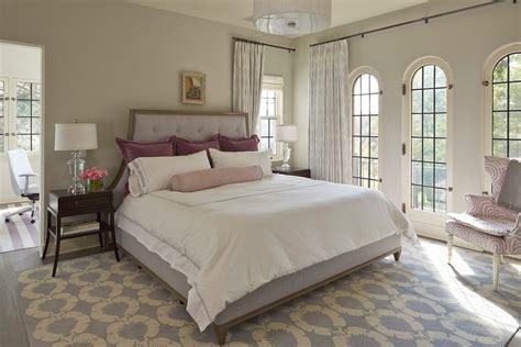 Gray Shower Curtain Bedroom Transitional with Lavender Windows