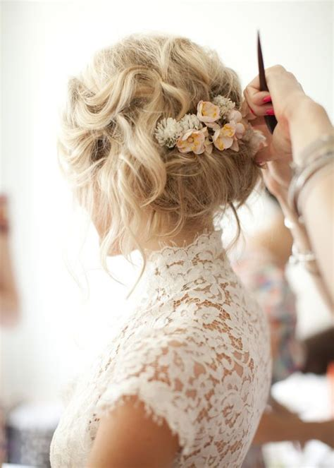 bridal hairstyles messy messy wedding hairstyle updo with flowers updo wedding