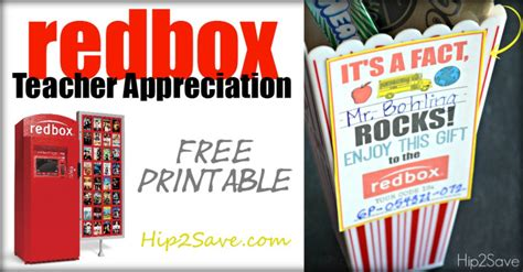 Redbox Gift Card - teacher appreciation gift idea gift a redbox code free printable card hip2save
