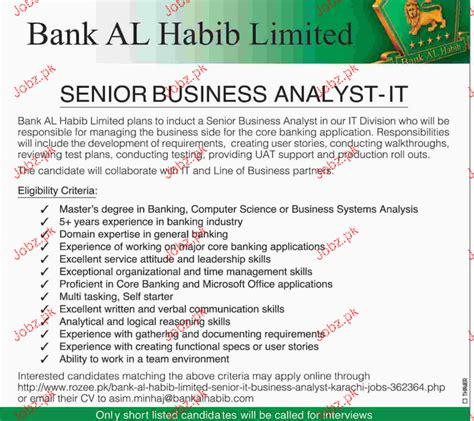 Bank Al Habib Letterhead senior business analyst it in bank al habib limited 2018 pakistan