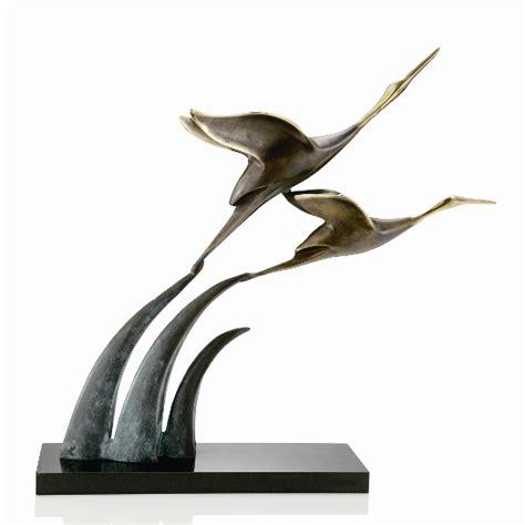Spi Home Decor airborne cranes flying brass marble contemporary bird