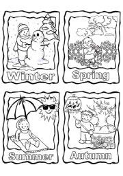 all four seasons colouring pages