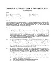 Joint Venture Letter Of Intent Template by Letter Of Intent For Manufacturing Joint Venture