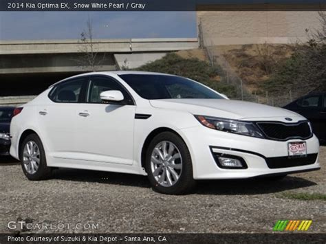 2014 White Kia Optima Snow White Pearl 2014 Kia Optima Ex Gray Interior