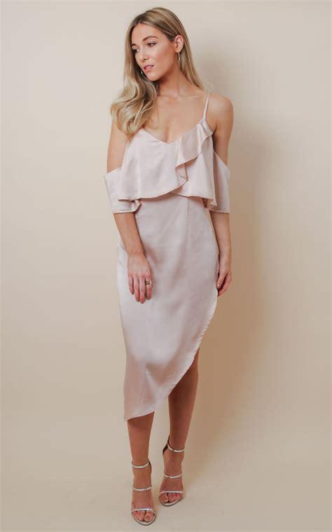 Satin Ruffles Dress blush satin ruffle midi dress silkfred
