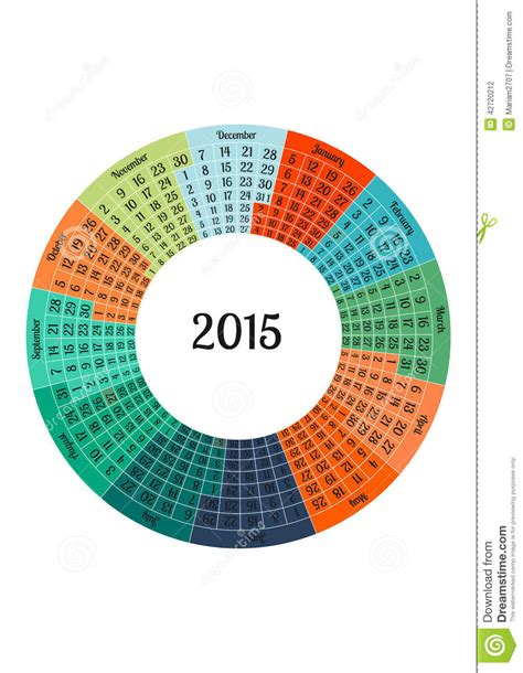 circle calendar 2015 year template stock vector image