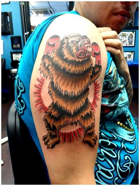 coloured grizzly bear boxer tattoo on half sleeve