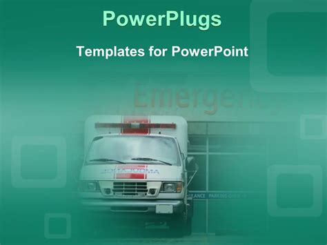 Powerpoint Template Ambulance In Front Of Emergency Room Ambulance Powerpoint Template