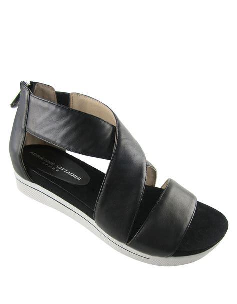 adrienne vittadini sandals adrienne vittadini claud leather sandals in black lyst