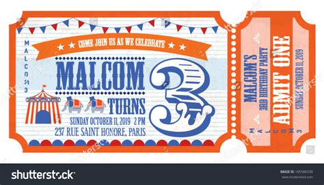 retro ticket place card template ticket birthday card invitation card template vector