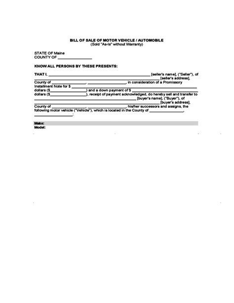 bill of sale template maine bill of sale of motor vehicle or automobile maine free