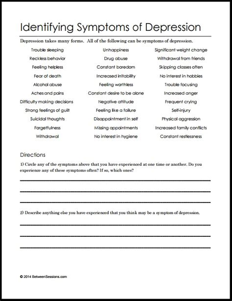 Depression Worksheets For Adults by B Identifying Symptoms Of Depression Pdf