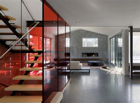 glass house interior design minimalist house interior with attracting red glass stair enclosure home building