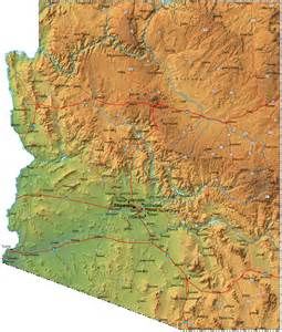 detailed arizona map az terrain map