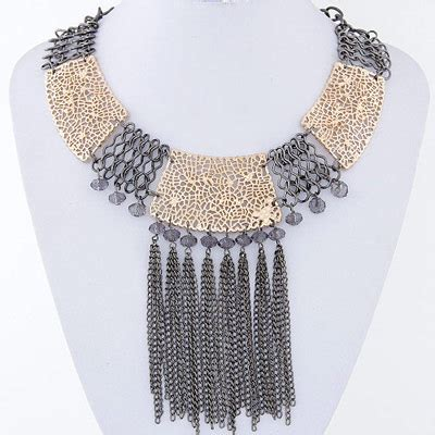 Kalung Korea Choker Decorated Hollow Out Design popular gun black tassel decorated hollow out design alloy bib necklaces asujewelry