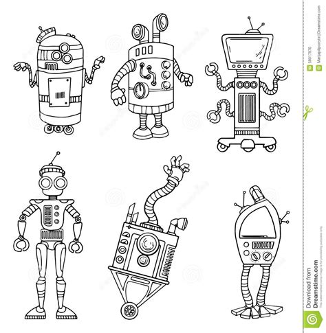 unique characters robot character set stock vector image 58017970