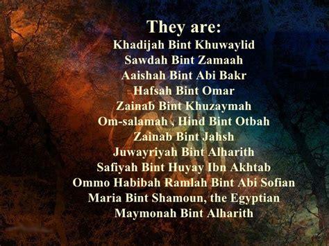 biography prophet muhammad wives wives of prophet muhammad sallallahu alaihi wa sallam