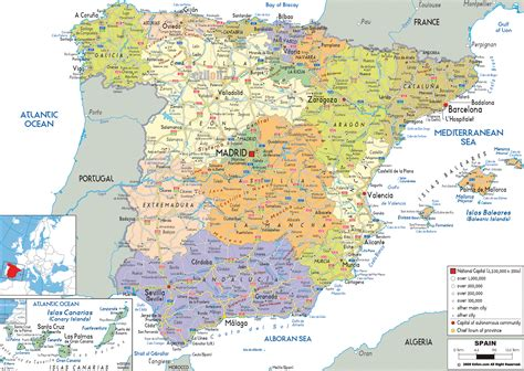 map of with cities large detailed political and administrative map of spain with all roads cities and airports