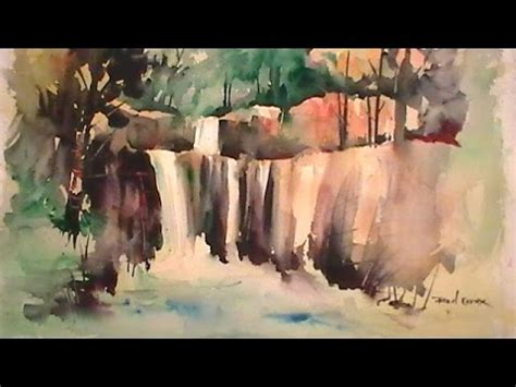 watercolor waterfall tutorial painting a waterfall in watercolor youtube