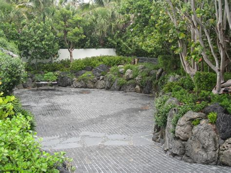 asian rock garden cobblestone driveway and rock garden walls asian