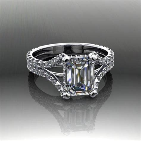 moissanite emerald cut engagement ring forever brilliant