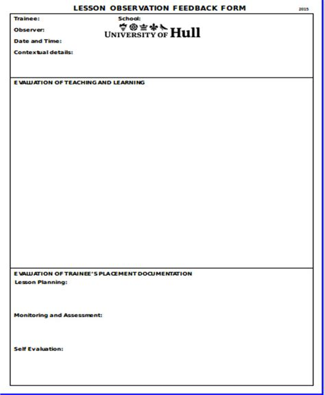 lesson plan feedback template sle observation feedback form 10 exles in word pdf