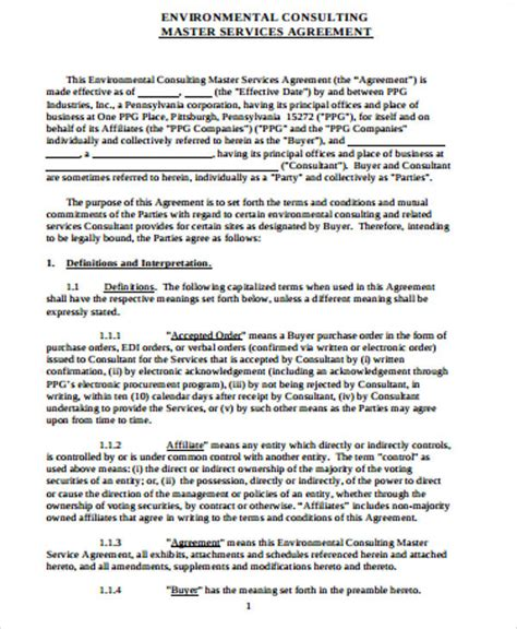 master service agreement template consulting sle master consulting agreements 5 exles in word pdf