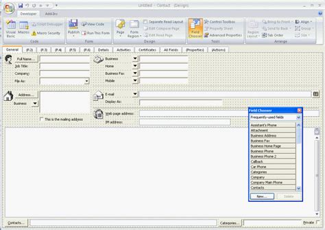 outlook form templates designing custom outlook forms
