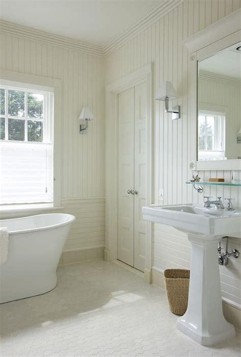 cottage bathroom  vertical beadboard backsplash
