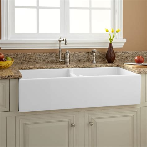 farm sink kitchen 39 quot risinger double bowl fireclay farmhouse sink ebay