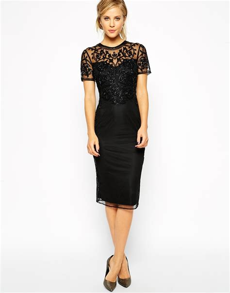 Dress Of The Day Embellish Shift Dress by Asos Baroque Embellished Midi Shift Dress In Black Lyst