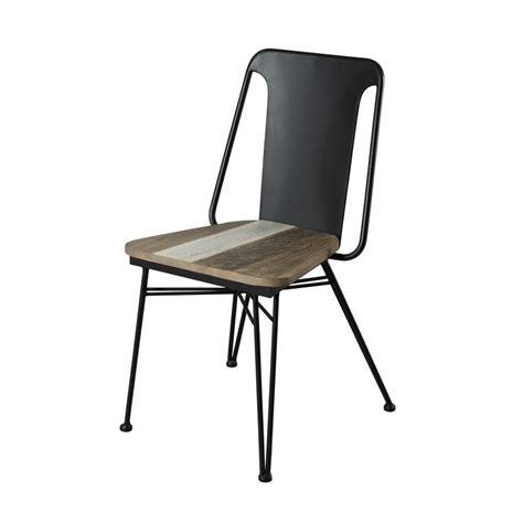 chaise bois metal chaise bois massif et m 233 tal noir style atelier so