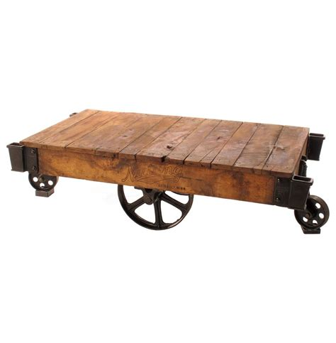 Rail Cart Coffee Table Industrial Loft Reclaimed Railroad Cart Coffee Tables Kathy Kuo Home