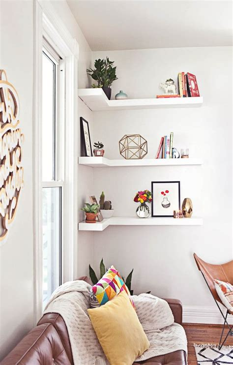 Living Room With Shelves - how to style decorative shelves