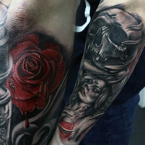 black and red tattoos for men 60 tattoos for bite into cool designs