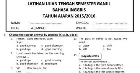 soal soal ujian sd 2015 2016 download soal uts ganjil download soal uts ganjil bahasa inggris kelas 4 semester 1
